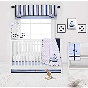 Bacati – Little Sailor 10-Piece Nursery in a Bag Crib Bedding Set 100 Percent Cotton Percale Boys Crib Bedding Set with 2 Crib Fitted Sheets (Bumper Pad not Included)