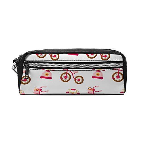 Cartoon Roze Fiets met Mand Gevuld met Hartjes PU Lederen Potlood Case Make-up Tas Cosmetische Tas Potlood Tas met Rits Reizen Toilettas voor Vrouwen Meisjes