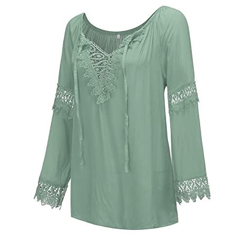 Yue668 - Camisa de manga larga de encaje de algodón y lino para mujer, blusa de encaje de lino y algodón con hombros descubiertos