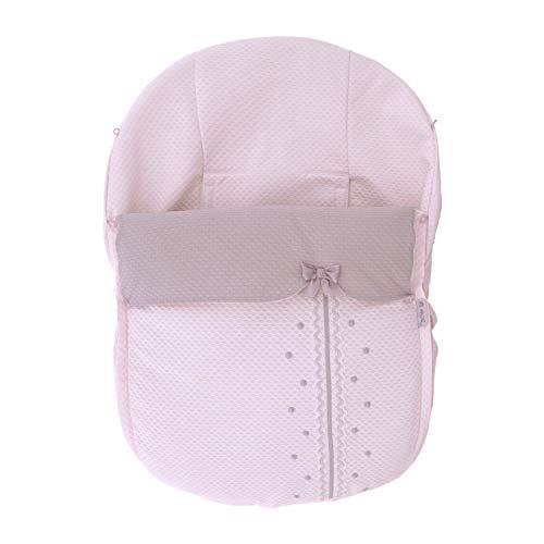 Funda + Saco Universal para silla de coche GRUPO 0 Rosy Fuentes en color rosa gris