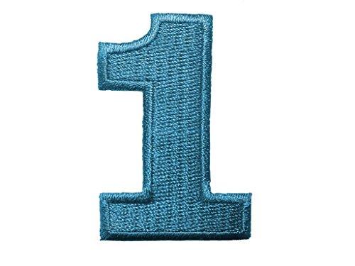 Aufnäher/Aufbügler - Zahl/Ziffer blau - Alle Zahlen einzeln auswählbar, Zahl/Ziffer:Zahl 1-4.9x3.3cm