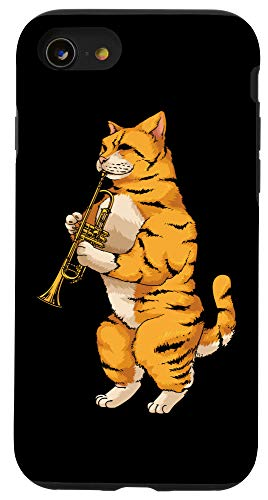 iPhone SE (2020) / 7 / 8 Funny Cat Playing Cornet   Cool Animal Wind Musician Gift Case