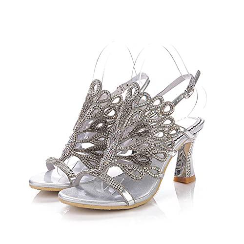 Sandalias Diamante, Verano Plateado Moda Elegante Para Mujer Tacón De Bloque Fiesta Sandalias Nupciales Con Brillo Zapatos De Baile De Boda Sandalias Abiertas Peep,Plata,EU42