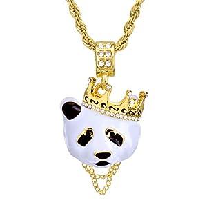 """Metaltree98 Hip Hop Rapper Rap Crown Panda Pendant 4 mm 24"""" Rope Chain Necklace Set HC 1167 G"""