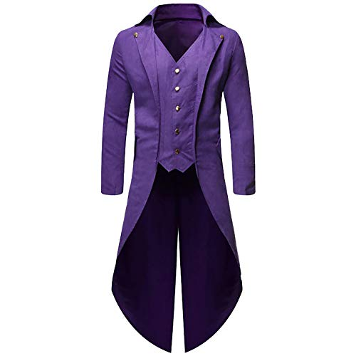 SOOY Steampunk Victorian Pirate Gothic Cosplay Chaqueta de Traje para Hombre Chaqueta Jacquard Medieval Halloween Los Carnavales Costume Coat