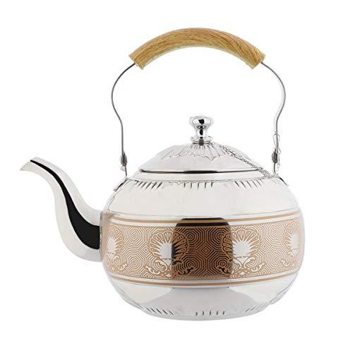 AMOMGard Tetera con filtro extraíble de acero inoxidable, tetera de té, colador para té de hojas sueltas, cafeteras de inducción, cocina de gas, plateado, 2 L