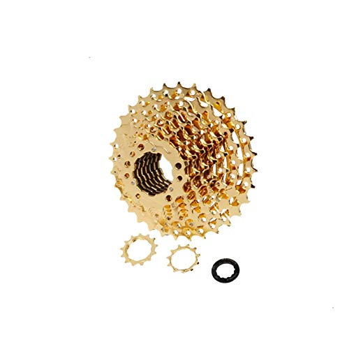 1set Mountain Bike FreeWheel 8/9/10/11/12 Velocidad 11-32 / 36/40 / 42/46 / 50T Cassette de bicicleta de acero Flywheel Sprocket de bicicleta para S-H-I-M-A-N-O SRAM ( Color : 10s 11 42T Gold )