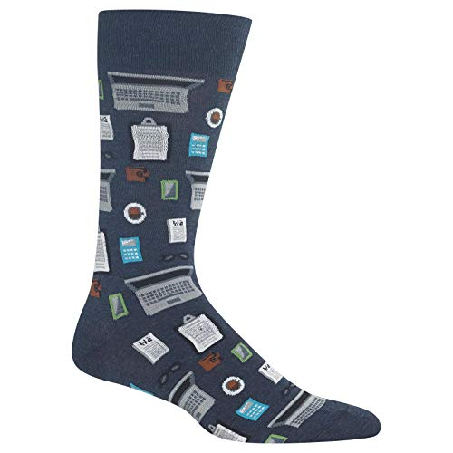 HotSox Mens Accountant Socks, Denim Heather, 1 Pair, Mens Shoe 6-12.5