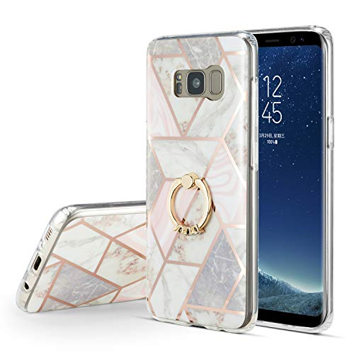 DEFBSC Samsung S8 Plus Marble Case with Ring Kickstand,Marble Design 360 Degree Rotating Ring Kickstand Soft TPU Shockproof Case Cover for Samsung Galaxy S8 Plus 6.2 Inch (Marble)