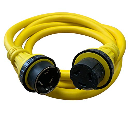 Halex, 52512, 12 FT. Marine Shore Power Extension Cord For Boats, Campers, or RVs, 50 Amp, 125/250 Dual Voltage, Yellow