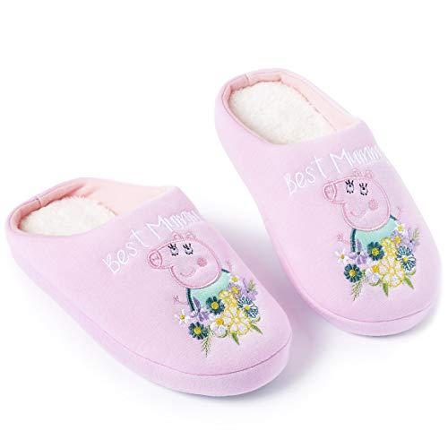 Peppa Pig Hausschuhe Damen Winter Pantoffeln Wärme Kuschelige Cartoon Mama Wutz (Numeric_36_Point_5)