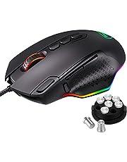 Holife RGB Gaming Maus Kabel, 【Advanced PMW3327 Gaming Sensor】 mit 10 programmierbaren Tasten, anpassbaren RGB-Lichtern und -Gewichten, Perfekte Gaming-Computermaus für PC, Laptop, Computer