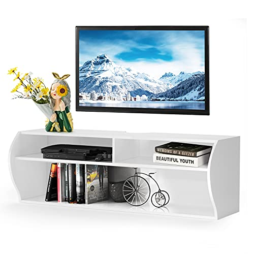 Tangkula Wall Mounted Media Console, Floating TV Stand Cabinet, 2 Tier Modern Wall Mount TV Component Shelf for Home Living Room Office, Wall Mounted Audio/Video Shelf (White)