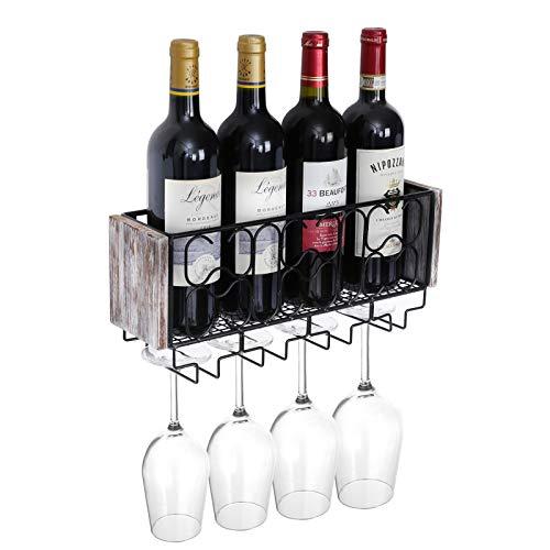 Halcent Portabottiglie Vino Porta Bottiglie Vino Scaffale Vino Organizer Portabottiglie da Parete in Metallo con 4 Supporti per Bicchieri a Stelo Lungo