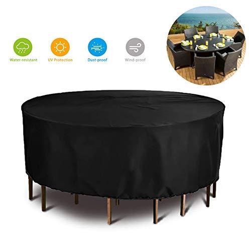 WXQIANG - Funda para muebles de ratán, impermeable, redonda, para patio, sofá, mesa y silla, cubierta de lluvia, banco, tela Oxford, 25 tamaños, color negro, tamaño 190×90cm