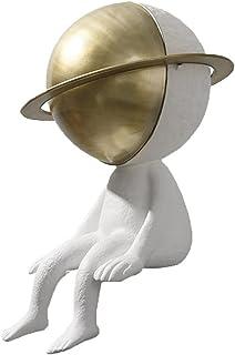 Sculpture Homme Planète, Sculpture De Personnage Créatif Pour La Décoration De La Maison, Affichage De Bibliothèque De Scu...