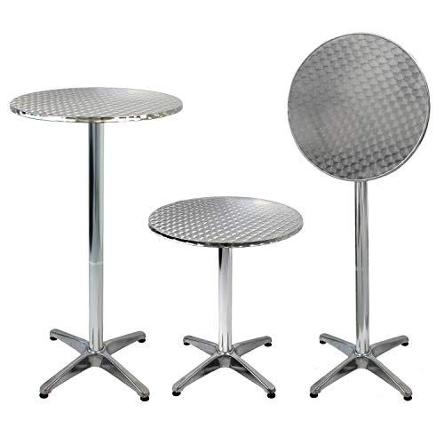 Wohaga Aluminium Bistrotisch Stehtisch, Ø60cm, H70/110cm, klappbare Tischplatte