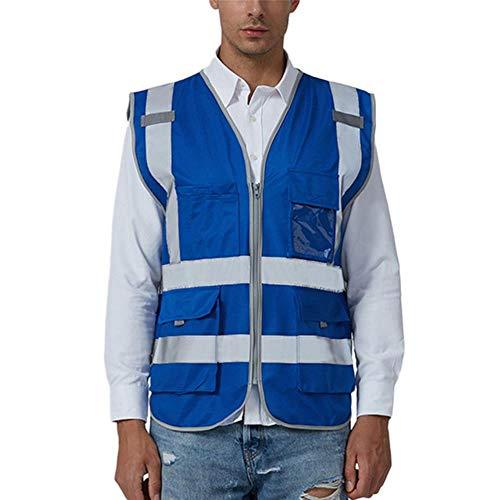 Vest Reflecterende Veiligheid Fietsen Reflecterende Jas Mannen Weg Werk Hoge Zichtbaarheidtrui Mouwloos Jas Veiligheid Vest Blouse #2N19,Blauw, L