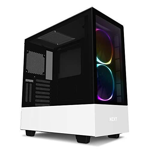 NZXT H510 Elite - Premium ATX-Mid-Tower-Gehäuse für Gaming-PCs - Dual-Tempered Glass-Fenster - Front I/O USB Type-C Port - Vertikale GPU - Für Wasserkühlung nutzbar - Weiß/Schwarz