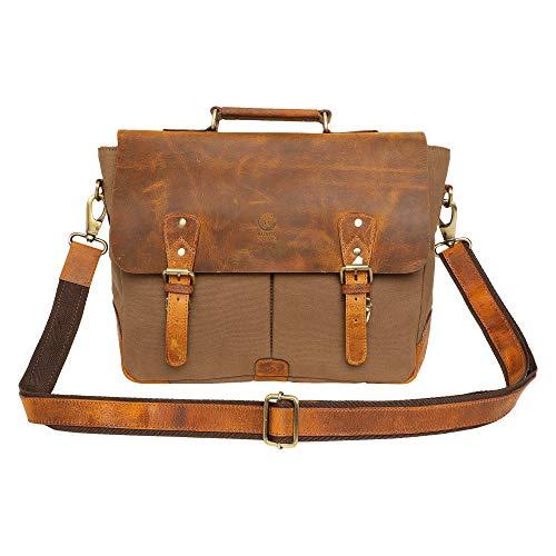 Rustic Town Leather Canvas Messenger Laptop Bag Satchel Briefcase