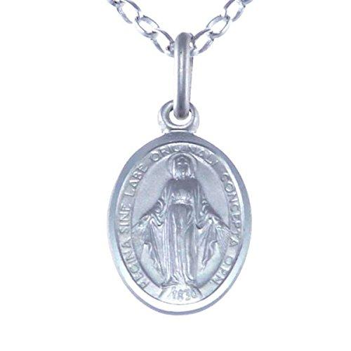 Medalla Colgante de Plata de Ley de la Virgen Milagrosa, con Cadena 16 pulgadas - 12 mm.