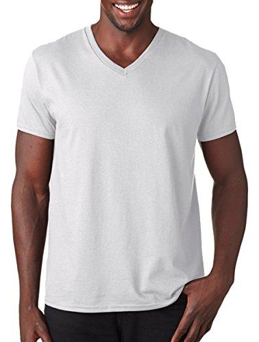 Fruit Of The Loom - Camiseta para hombre, manga corta, cuello de pico blanco L