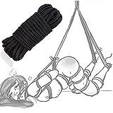 Cuerda multiusos de cuerda artesanal negra, aprox. 32 pies (10 m) de largo, aproximadamente 8 mm de diámetro