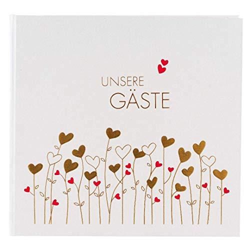 Goldbuch Foto-Gästebuch mit verdeckter Spirale, Golden Hearts, 29 x 23 cm, 50 weiße Blankoseiten,...