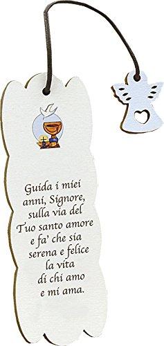 Fabula Prima Comunione - Set pz 3 Segnalibri Personalizzabili (2,80€/pz) Modello Frase su Legno con Pendaglio - Dimensioni cm 5x15 - Spessore mm 4 - cod. 160155B