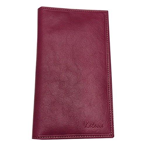 Katana Alles In Einem, Tür Scheckheft, Tür Karten, Brieftasche, Leder weiches Rindsleder NEU FUSHIA TRES MAT