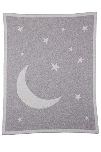 Love Cashmere Lune et Étoiles Couverture Emmaillotée en 100% Cachemire - Gris - Fait main à Écosse