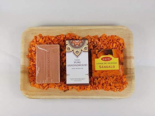 Set badkamer aromatherapie - sandelhout (zeep + etherische olie + wierookegel)