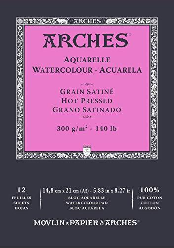 Bloc Enc 14,8x21 12H Arches Aquarelle 100% Satin 300g Blanc Nat