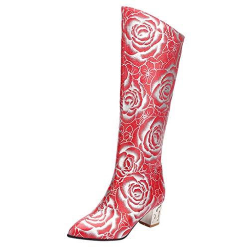 Geilisungren Damen Langschaft Spitz Stiefel Vintage Blumen Druck Lederstiefel mit Blockabsatz Frauen Warme Gefüttert Winterstiefel Übergrößen Lange Boots Zipper Kniestiefel Cowboystiefel