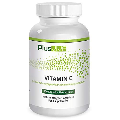 Plusvive Acerola vitamine C, 180 veganistische capsules, hooggedoseerd, biologisch acerola-extract, geproduceerd in Duitsland