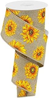Sunflower Canvas Wired Edge Ribbon, 2.5