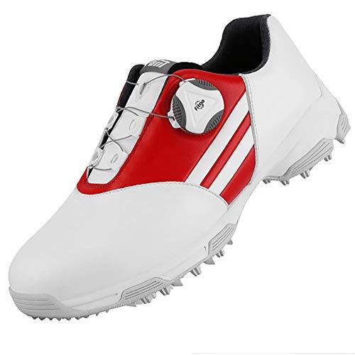 Zapatos De Golf para Niños,Antideslizantes con Sistema De Encaje Boa para Deportes Al Aire Libre, para Correr, Transpirables, Suaves,Rojo,34