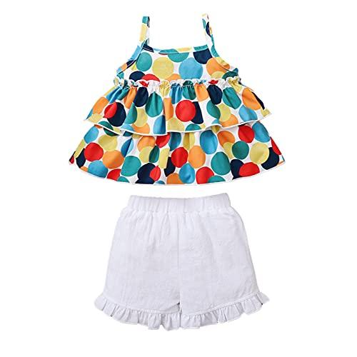 Ropa de niña sin mangas Conjuntos de lunares volantes Tops arco blanco pantalones cortos de verano trajes