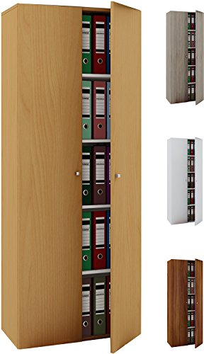 VCM Büroschrank Aktenschrank Bücherregal Standregal Aktenregal Schrank Regal Vandol Mit Türen: Weiß