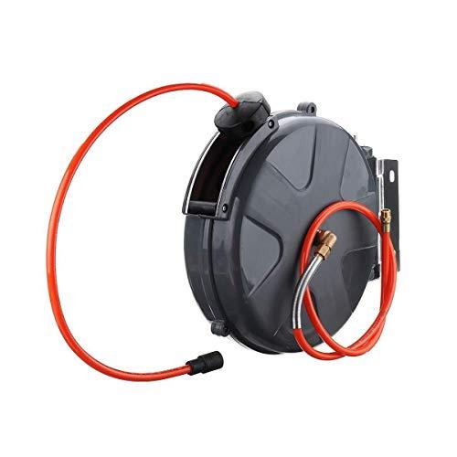 YYhkeby 1/4 Zoll einziehbare Auto Rewind Luftschlauchtrommel Kabeltrommel Rotation Wandhalterung 360PSI Schlauchaufroller Sprinkler Wasch Auto (Farbe: Schwarz) Jialele (Color : Black)