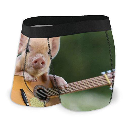 Brave Har Herren Boxershorts Passende Slips Piggy Playing Guitar Trunks Schnell trocknende Unterwäsche