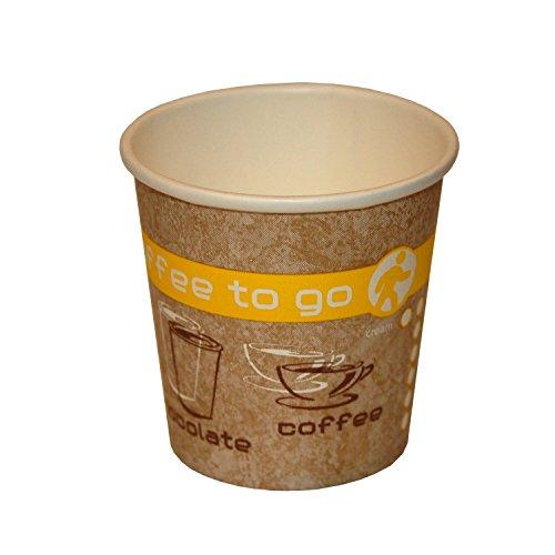 Coffee to Go Becher, Heißgetränke Pappbecher, 100ml, 50 Stück