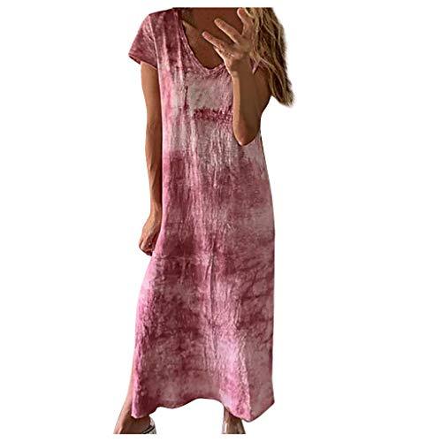 ReooLy Vestido de Dobladillo de Manga Corta con Cuello en V para Mujer con Estampado Tie-Dye (Vino,L)