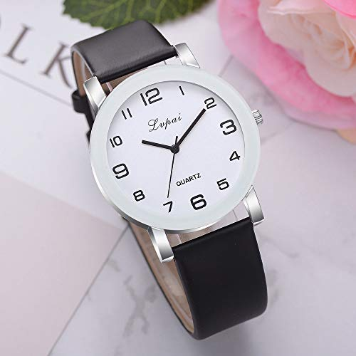 LMDGO Lvpai Damen-Armbanduhr, leger, Quarz, Lederband, analoge Armbanduhr Gr. Einheitsgröße, Schwarz
