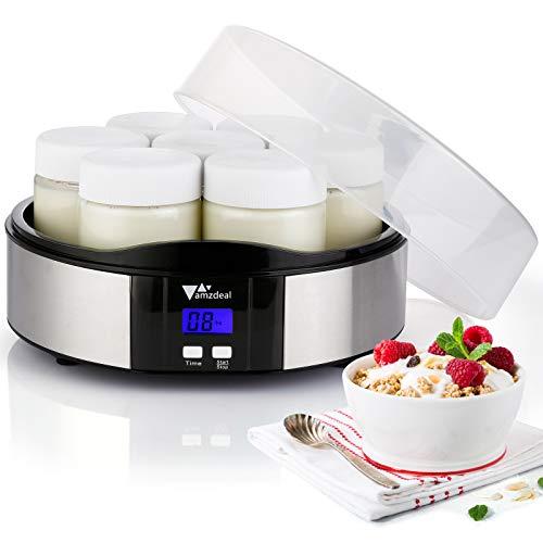 Amzdeal Yogurtiera- Yogurtiera Elettrica con Display LCD e 7 Barattoli di Vetro da 200 ml, Timer di Spegnimento Automatico, Design in acciaio inossidabile per yogurt da casa
