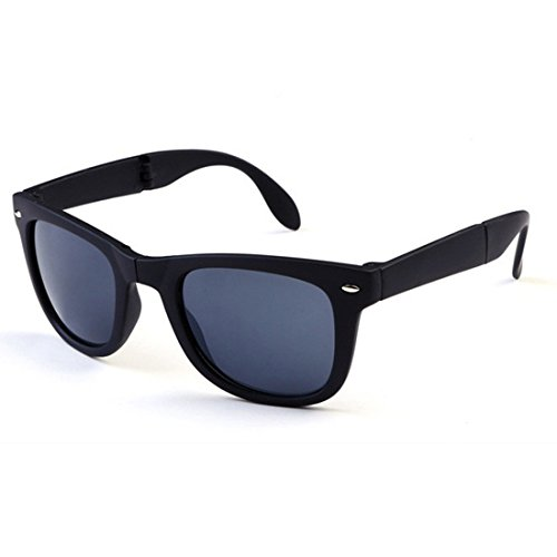 NoyoKere Unisex Faltbare Sonnenbrille mit Original Box Faltbare Gläser mit Fall transparente Sonnenbrille gefaltet schwarz