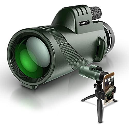 ARPBEST Telescopio monocular de alta definición 12X50 con soporte para teléfono inteligente y trípode - Lente FMC y prisma BAK4-Starscope Monocular HD de doble enfoque para observación