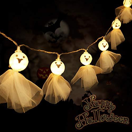 Luci della Stringa Fantasma Halloween con 20 Decorazioni della Parete del Fantasma Pizzo Led Luci della Stringa di Fata Alimentate a Batteria per Luci Sospese Aperto Interno Festa di Halloween