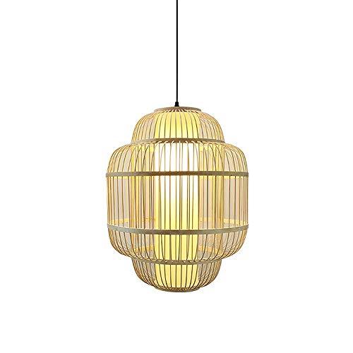 PGONE Estilo del Sudeste Asiático Linterna Colgante Lámpara De Bambú Natural Lámpara Colgante Hecha A Mano Creativa Lámpara De Techo Accesorio Lámpara De Tela Pantalla E27 (Size : 40cm)