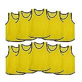 Ronex Sports Petos de Entrenamiento para niños, jóvenes y Adultos (Petos Deportivos, Petos de Futbol) - Pack de 10 Unidades (Amarillo, Adulto)